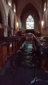 Christ Church Malvern interior covered in plastic