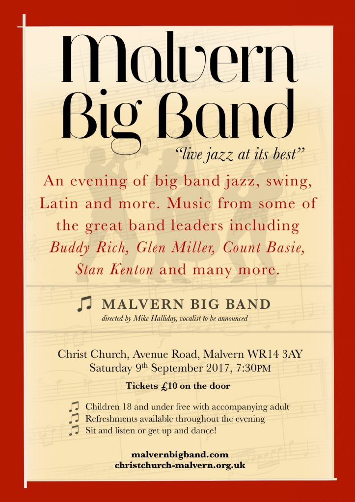Poster Malvern Big Band - Christ Church Malvern