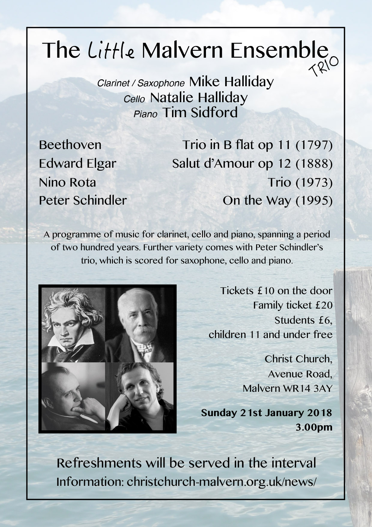 The Little Malvern Emsemble Trio - 3.00 pm Sunday 21st January 2018