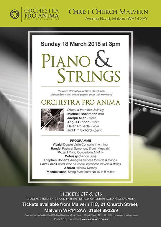 Sunday 18 March 2018 at 3pm - MICHAEL BOCHMANN AND ORCHESTRA PRO ANIMA – PIANO AND STRINGS